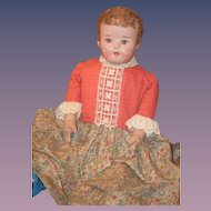 Antique Doll Oil Painted Cloth Alabama Baby Ella Smith Large
