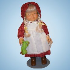 Vintage Doll Wood Carved Beckett Origianals Elfreda By Bob ONLY 1 Made W/ Bear