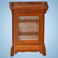 Vintage Doll Miniature Mirror Back Chest Cabinet Dollhouse