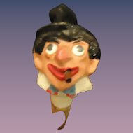 Antique Papier Mache Paper Groucho Marx Smoker Movie Star Doll Head Unique Bottle Top