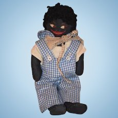Old Doll Black Cloth Doll Rag Doll Folk Art Primitive