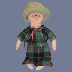 Old Doll Cloth Doll Rag Doll Folk Art Primitive Unusual Clothes and Bonnet