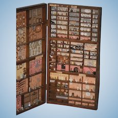 Old Doll Miniature Dream Wood Case Store Filled with Miniatures Bust Frames Utensils Diorama Doll Dream World