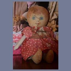 Old Doll Cloth Doll Rag Doll Folk Art Primitive Sweet Size & Look