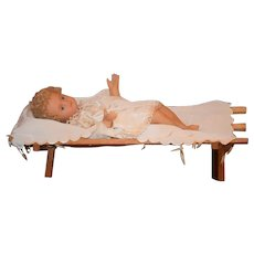 Old Doll Wax Baby In Wood Bed Wonderful Glass Eyes