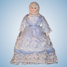 Vintage Doll Clairmade Emma Clear Parian China Head Glass Eyes W/ Molded Scarf
