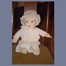 Old Doll Cloth Doll Rag Doll Folk Art Primitive Button Eyes Sewn Features Unusual W/ Bonnet