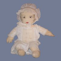 Old Doll Cloth Doll Rag Doll Folk Art Primitive Button Eyes Sewn Features Unusual W/ Bonnet