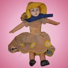 Vintage Doll Norah Wellings Cloth Doll W/ Original Tag