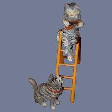 Old Austrian Bronze Miniature Cat Kittens On Ladder Playing Fiddle Dollhouse