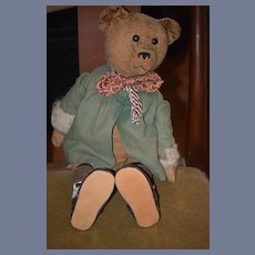 Old Teddy Bear Mohair Early Jointed Button Eyes Wonderful Doll Friend