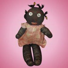 Old Doll Cloth Doll Rag Doll Stockinette Doll: Black Folk Art Primitive