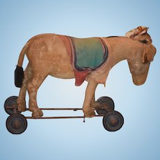 Antique Doll Toy Steiff Donkey On Wheels Ride On or Pull Toy w/ Button in Ear Sweet Mohair