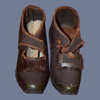 Antique Doll Shoes Leather & Wood Buckles Child Unusual Fancy W/ Heels