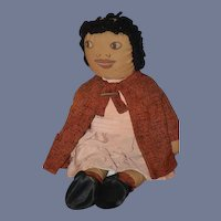 Old Doll Cloth Doll Rag Doll Folk Art Primitive Drawn on Features