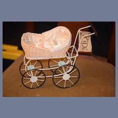Vintage Louis Nichole Doll Pram Carriage Buggy Fashion Doll Size Miniature