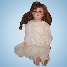 Antique Doll Bisque Walkure  By Kley & Hahn Gorgeous White Dress