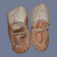 Old Doll Shoes Leather Unusual Design