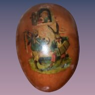 Vintage German Papier Mache Egg Candy Container Unusual For Doll W/ Children Scenes