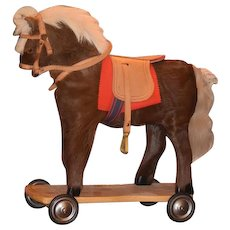 Vintage Doll Horse Pull Toy Western Germany Ride On Horse on Wheels Wood Carved