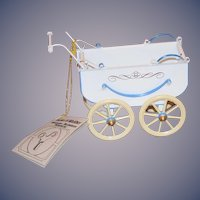 Wonderful Tucher Walther Tin Doll Pram Buggy Carriage in Original Box Wonderful German Miniature