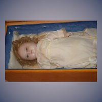 Old Wax Doll Poured Wax in Wood Display Box Glass Eyes