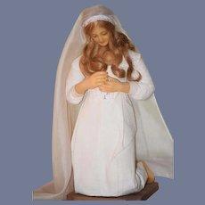 Vintage Doll Wax Doll Lady Doll Kneeling On Base GORGEOUS