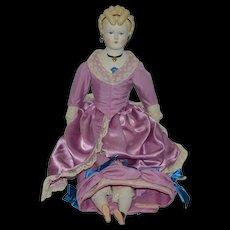 Old Doll Emma Clear Parian China Head Fancy Lady Doll