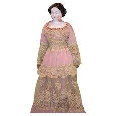 Old Doll Jenny Lind China Head Fancy Old Dress