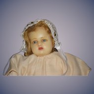 Old Doll Poured Wax Doll Baby