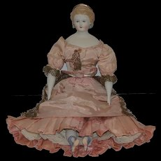 Old Doll Emma Clear Parian Gorgeous Fancy Hair Style with Crown and Pierced Ears China Head