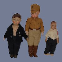 Old Doll Set Oil Cloth Dolls Different Sizes Dressed