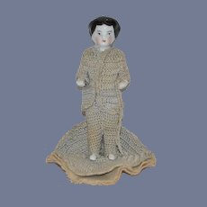 Antique Doll Frozen Charlotte Chimney Sweep Miniature Dollhouse China Head