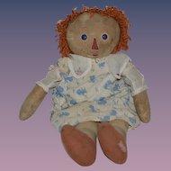 Old Doll Raggedy Ann Cloth Doll Button Eyes