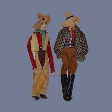 Old Doll Stockinette & Other Material Cowboys Farmers Character Dolls Unusual