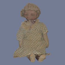 Old Doll Printed Cloth Doll Large Old Clothing Unusual Rag Doll