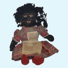Antique Doll Black Cloth Doll Rag Doll Folk Art Primitive Unusual