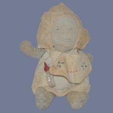 Old Doll Baby Cloth Doll Rag Doll Drawn on Features Folk Art CUTIE