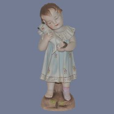 Old Doll Piano Baby Bisque Doll Figurine Girl with Cat Adorable