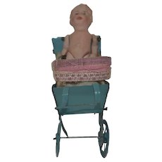 Antique All Bisque Doll in Miniature Tin Carriage Pram Buggy