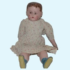 Antique Doll Alabama Baby Oil Cloth Doll Blue Boots