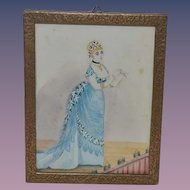 Old Painting Watercolor Water Color Victorian Lady Miniature Painting