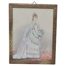 Antique Water Color Watercolor Victorian Bride Miniature Painting
