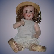 "Antique Doll Bisque Laughing Jumeau SFBJ French Doll 26"" Tall BIG BABY Paper Label"