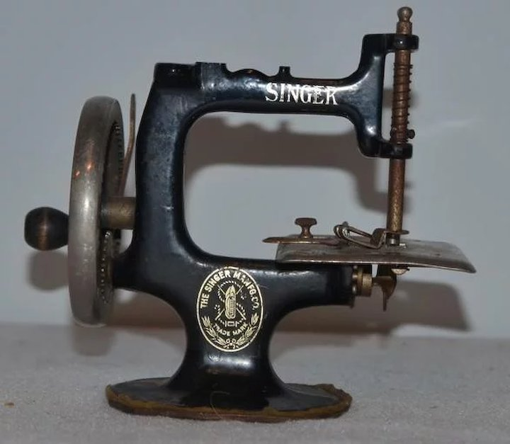 Antique Doll Childs Miniature Singer Sewing Machine Oldeclectics Unique Miniature Singer Sewing Machine