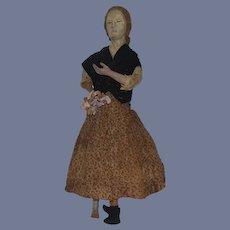 "Antique Doll Wood Carved Lady Doll Unusual Primitive Folk Art 16"""