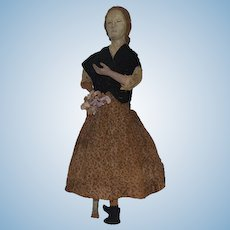 Antique Doll Wood Carved Lady Doll Unusual Primitive Folk Art