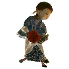 Vintage Doll Artist Doll Felt Girl Dancing With Raggedy Ann