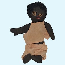 Old Doll Black Cloth Doll Rag Doll Sewn Features