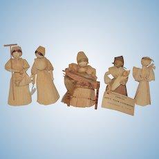 Old Doll Set Carolyn Guise Corn Husk Dolls Cornhusk Unusual Artist Big Collection